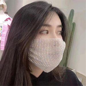 Diamond New Facemask Mask Mascarilla de moda Sección de la cara de verano Protección solar Diamante Cara con decoración delgada Diseñador de diamantes de imitación brillante HSIU