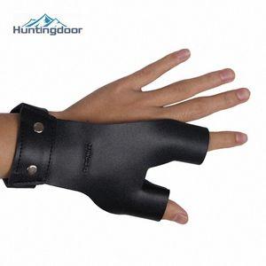 Черный коровьей перчатки пальцев Protect Guard Традиционные кожаные перчатки левый большой палец правой руки указательные пальцы Для Bow L2ge #