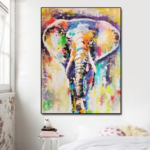 Modern Handpaint Elephant Oil Printed Canvas Paintings Posters Prints Kids room Wall Art Picture Cheap Home Decor