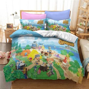 3D Cartoon Queen King Size Bedding Set Animal Crossing Game Printing Duvet Cover Comforter Cover Set Bedclothes for Kids Adults