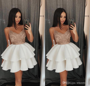 Short Little 2020 White Homecoming Dresses Spaghetti Straps Cocktail Dress Mini Tiered Prom Gowns For Graduation Party Wear