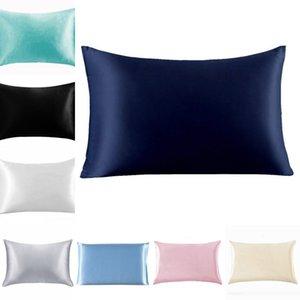 20 * 26 بوصة الحرير الحرير كيس المخدة الرئيسية متعدد الألوان الجليد الحرير وسادة القضية النساء الرجال الصلبة اللوازم اللون المخدة الفراش