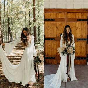 2020 Country Style Boho Lace Wedding Dresses With Long Sleeves V Neck A Line Beach Wedding Gowns Bohemian Plus Size Bridal Dress