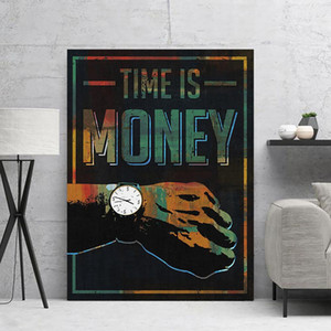 Canvas Painting Modular Picture Time Is Money Wall Artwork Watch Home Decor Modern Success Printed Poster For Living Room Frame