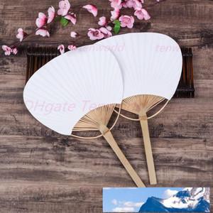 Paddle mão Ventiladores com quadro de bambu e Handle Wedding Party Favors presentes Paddle Papel Fan espanhol Fan
