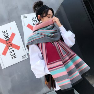 LANMREM 2020 Autumn Winter New Double Sided Geometry Large Size Scarf For Women Warm Thickening Shawl Scarf YE946 CX200727
