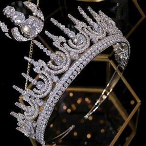 ASNORA Нового классический кубический цирконий тиара свадебной свадьбе 2/3 круглого принцесса короны оголовья роскошных дам волосы аксессуаров A00818
