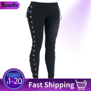 Rosetic Fall Casual Gothic Office Lady Punk Style Women Leggings Plain Thin Cotton Straight Female Black Leggings Summer 201015