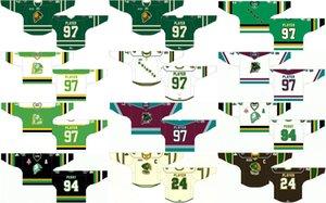 حسب الطلب 1986 87-1993 94 OLL رجالي إمرأة أطفال أبيض أسود أخضر 2012 13-PRES Stiched London Knights Logos Ontario Hockey League Jerseys