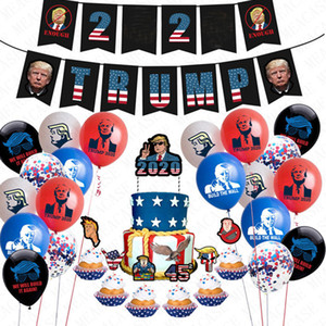 24pcs lot Donald Trump 2020 Flag Latex Confetti Balloons Set Trumpet Pull Flag Sting + Cake Card US President Vote AccessriesD72202