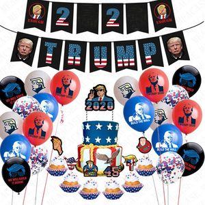 24pcs lot Donald Trump 2020 Flag Latex Confetti Balloons Set Trumpet Pull Flag Sting + Cake Card US President Vote AccessriesD72202