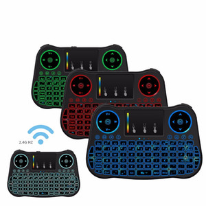 20pcs lot dhl free 7 color backlit MT08 Mini Wireless Keyboard 2.4ghz Air Mouse with Touchpad Remote Control for Android tv Box