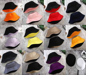 Double-sided Wearing Cap Visor Solid Color Bucket Hat Men And Women Cotton Flat Sun Hat Reversible Fisherman Hat Bucket Cap DA639