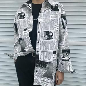 Streetwear 2020 Newspaper Lettera Moda stampare direttamente gamba larga coulisse Hem sciolti Pantaloni harem pantaloni Sweatpant Estate Jogger