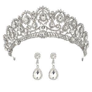 Wedding Crown Bridal Tiaras with Earrings Princess Crown for Women Bride Headband Head piece Hair Jewelry hair ornaments diadem T200108