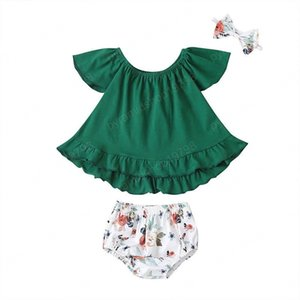 Infant Outfits Summer baby girls suits cute Toddler Suits girls outfits Blouse+shorts Briefs+headbands 3pcs set baby girl clothes