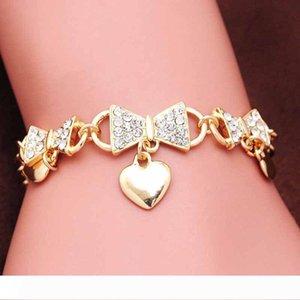 Fashion Luxury chain Bracelet & Bangle Jewelry Gold Plated Pulseras Pulseiras Austrian Crystal Heart Shape Women Charm Bracelets