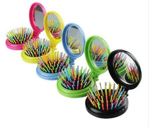 Portable pocket comb folding rainbow needle plastic comb round small curved tooth folding mirror combs brush