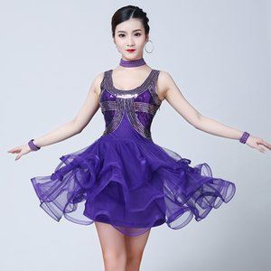 New Style Women Latin Salsa Dance Dress Sequin Bead Embroidery Dresses Girls Cha Cha Ballroom Party Competition Costume