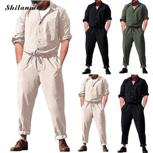 2020 2020 Summer Plus Size Button Pockets Long Sleeve Men Jumpsuits Muslim Casual Male Working Joggers Pants White Black Jumpsuits p355#