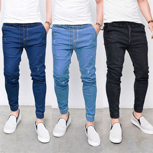 3 colori Jeans Uomo Moda jeans a vita elastica pantaloni stretti denim strappati Distressed Slim matita Pants