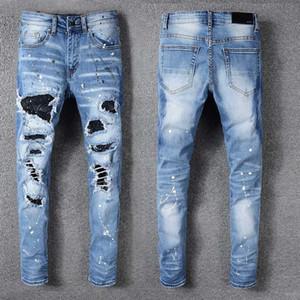 الفاخرة رجل جينز حجر الراين كريستال خليط الضوء الأزرق ممزق جينز نحيل تمتد الدنيم السراويل الهيب هوب الرجال