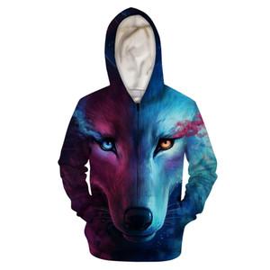 Cool Wolf Black Cat Zipper Hoodies Women Men Hip Hop Sweatshirts Animal 3D Hooded Coat Couples Streetwear Casual Jacket