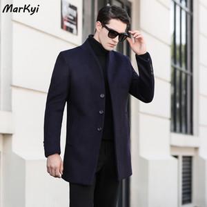 MarKyi sonbahar moda mandalina yaka yün trençkot erkekler tek göğüslü uzun siper homme erkek