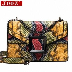 JOOZ Frauen Messenger Bag Snake Print-Schulter-Beutel für Frauen-Beutel PU-Leder Small Square Package C3pG #