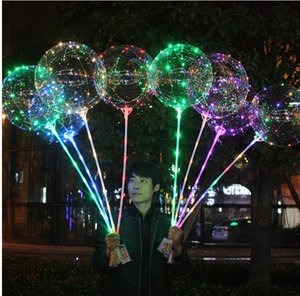 Luminous LED Balloon Transparent Colored Flashing Lighting Balloons With 70cm Pole Wedding Party Decorations Holiday Supply