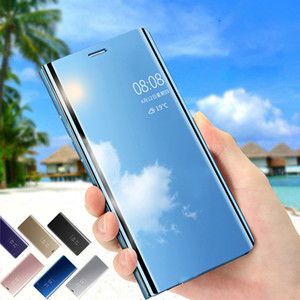 Fashion Leather Mirror Smart View Flip Cover For Samsung Galaxy J3 J5 J7 A5 2016 2017 J730FM A6 A8 Plus S6 S7 Edge S8 S9 Case