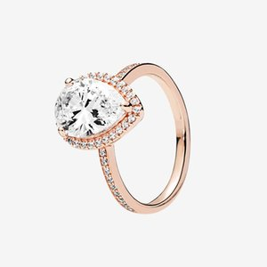 Top Fashion Rose gold plated RING Womens Wedding Gift Sparkling Teardrop Halo Rings with Original box for Pandora 925 Silver ring