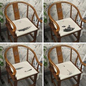 Elegante pintada de branco Mão Sofá Chair Almofada do assento chinês Dining Chair Poltrona assento almofada de algodão de linho substituível almofadas de assento