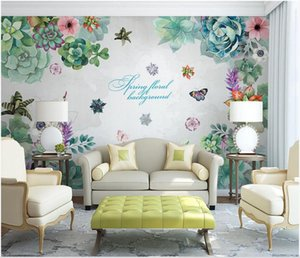 3D murals wallpaper cloth custom photo Idyllic watercolor succulent abstract flowers sof background 3d landscapes room wallpaper for walls