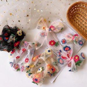 2020 Веревка New Sweet Girl Красивая вышивка цветок Пряжа Резинка для волос корейских детей способа Bow Шпильки Аксессуары для волос