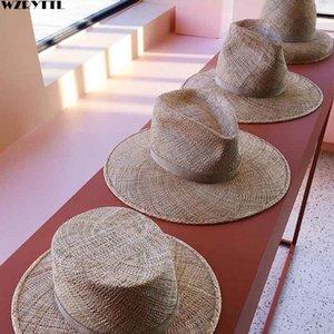 Классический мужской летний Hat для мужчин женщин Handmade Прохладный Тканые соломы Fedora Hat Стильный ВС Hat Бежевый Группа Jazz Cap Kentucky Derby T200720