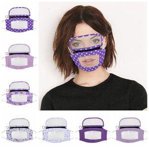 Фиолетовая Видимые Губы Рот Комбинированной маска Removeable Тонкая прозрачный ПЭТ маска с очками для глухонемых Лицевой защиты LJJP204