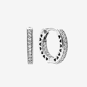 Männer Frauen Kleiner Kreis Ohrring CZ Diamant Sommer-Schmucksachen für Pandora Sterlingsilber 925 Pave Herz-Band-Ohrringe mit ursprünglichem Kasten