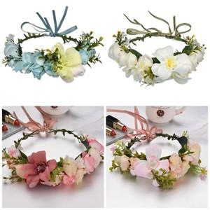 Ladies Headwear Wreath Color Mix Manual Artificial Flowers Hairband Flower Crown Wedding Headdress Party Supplies 13 6mxE1