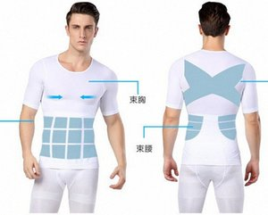 Wholesale-Men Lose weight slimming vest tops waist belt reduce belly stomach shapewear posture corrector t shirt tight chest shaper aIk3#