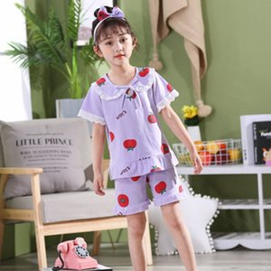 Menekşe pamuk Kızlar Pijama Yaz pijamalar Çocuk Pijama İçin Kız ev Giyim Seti 5-14 yaşında çocuklar prenses Sleepwear set
