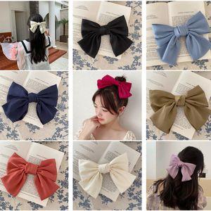 8pcs lot Korean Big Ribbon Hair Bow Satin Fabric Hairpin Two Layers Automatic Hair Clip Retro Tie Girls Accessories