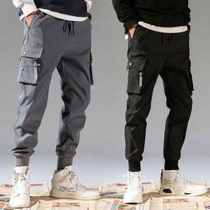 Januarysnow 5XL Men Vintage Cargo Pants Male Hip hop Khaki Black Pockets Joggers Pants Man Korean Fashion Sweatpants Autumn Overalls