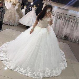 Gorgeous Dubai Long Sleeves Wedding Dresses New Beaded Appliques Puffy Tulle Ball Gown Bridal Dress Robe De Mariee Princess B92
