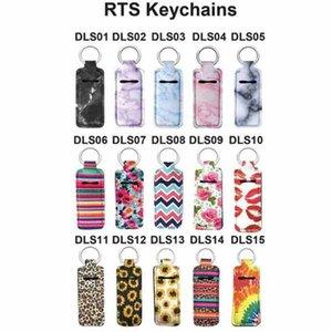 Chapstick Halter Neopren Armband Keychain Marmor Printed Chapstick Abdeckung Lippenstift-Halter-Beutel-Armband-Schlüsselring-Partei-Bevorzugung CYZ2554