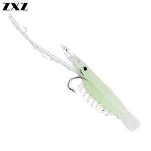 25pcs suave señuelo de las plataformas luminoso del cebo del camarón del hilo de nilón Jigs señuelo cadena gancho Equipos de pesca