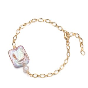 Charm Bracelets of Purple Baroque Pearl Charm Hot Sale Ankle Bangle Bracelet for Women Jewelry Party Gift