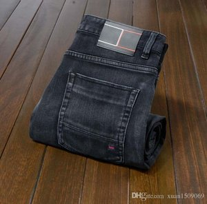 19 autumn and winter men's leisure small straight tube stretch waist cotton jeans