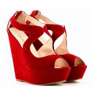 Sapato Feminino Womens Ladies Faux Suede Platform Peeptoe High Wedges High Heel Shoes Size 5 6 7 8 9 10 11