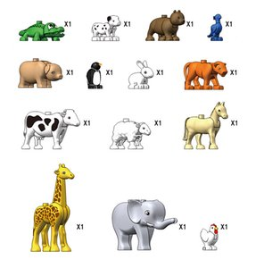 14pcs Children DIY cognitive educational toy Funny animal park with Larger particles building blocks for kids intelligence creative gift 04